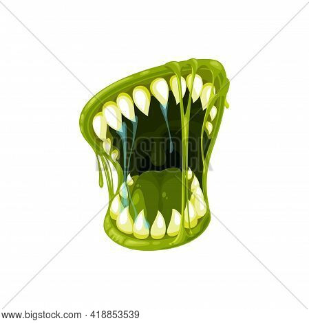 Monster Mouth Vector Icon, Creepy Zombie Or Alien Jaws With Sharp Teeth, Green Tongue, Lips And Drip