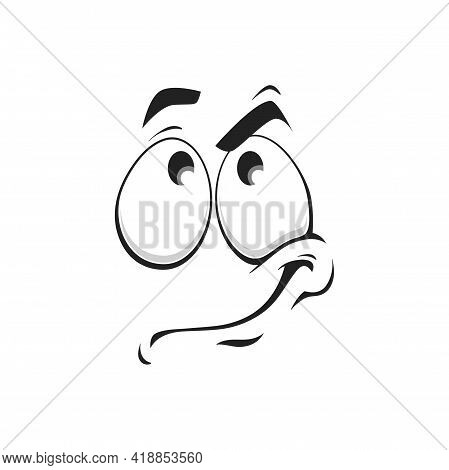 Cartoon Face Vector Icon, Funny Thinking Emoji, Thoughtful Tense Facial Expression With Eyes Looking