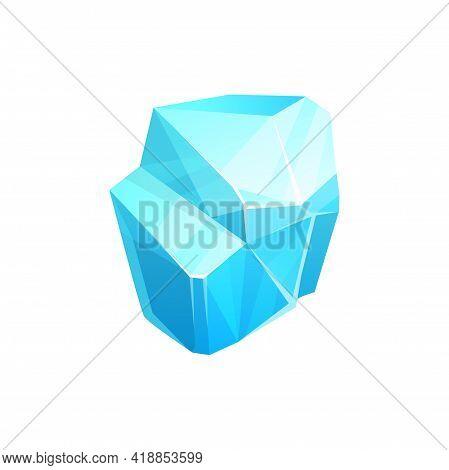 Ice Crystal, Blue Piece Of Iced Floe, Vector Salt Mineral, Snowdrift Cap Or Icicle. Cartoon Ui Or Gu