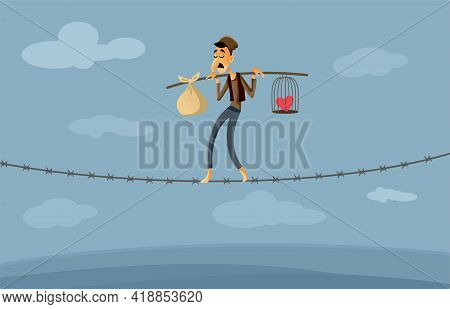Migrant Worker Walking On Barbed Wire Fence Vector Illustration