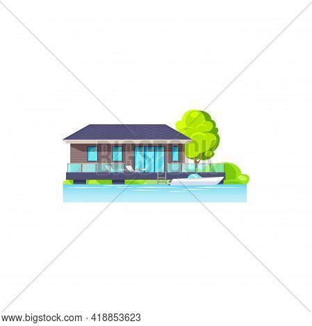 Modern House On Water Isolated Icon. Vector Beach House Building, Villa Or Cottage. Real Estate Seas