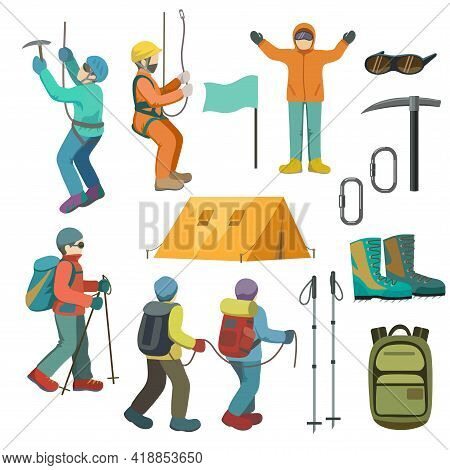 Set Of Mountaineers And Climbing Equipment. Vector Illustration.