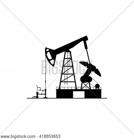 Oil Derrick Silhouette Isolated Pump Jack Icon. Vector Oil Industry Factory Plant, Drilling Pumps, P