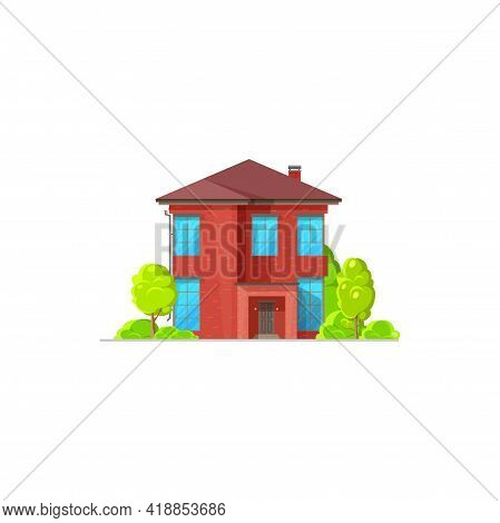 Vintage Chalet Country House, Contemporary Building With Trees Isolated Red Wooden Chalet Flat Carto