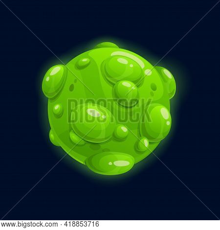 Fantasy Planet, Far Alien World With Green Bubbles Isolated Flat Cartoon Icon. Vector Deep Space Moo