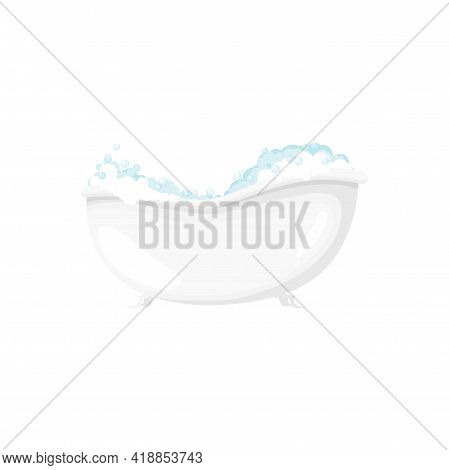 Soapy Bubbles In Bathtub Bathroom Object Isolated Cartoon Icon. Vector Bath-tub With Froth And Soap,