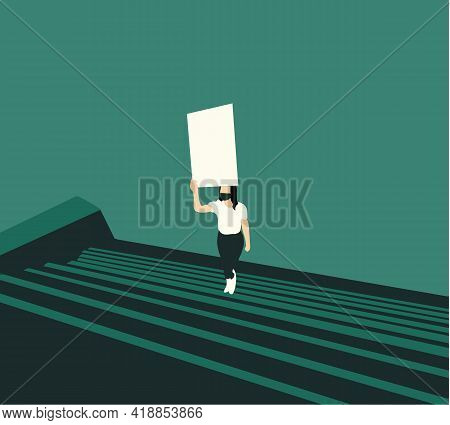 Woman Walk On The Stair Holding Blank Posters To Protest,uprising Or Strike In City Street.activism
