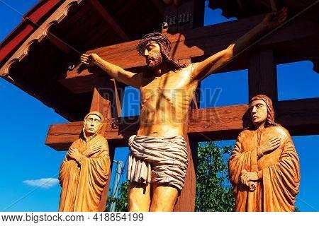 Wooden Statue Of Jesus Christ . Crucifixion Wooden Sculptures
