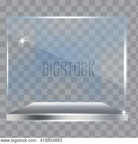 3d Mockup With Glass Showcase Form Cube. Interior Design. Vector Illustration. Stock Image.