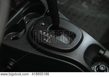 Novosibirsk, Russia - April 25 2021: Renault Duster, Car Detailing. Automatic Transmission Lever Shi