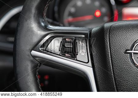 Novosibirsk, Russia - April 25 2021: Opel Astra, Vehicle Interior Of A Modern Car With Voice Control