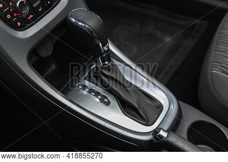 Novosibirsk, Russia - April 25 2021: Opel Astra, Car Detailing. Automatic Transmission Lever Shift.