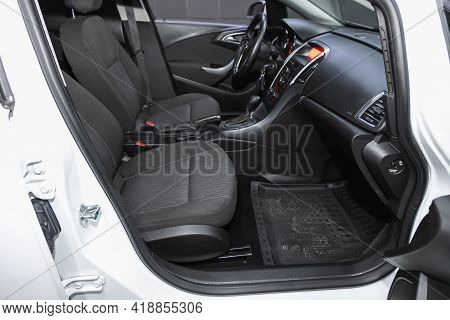 Novosibirsk, Russia - April 25 2021: Opel Astra, Steering Wheel, Shift Lever, Multimedia  Systeme, D