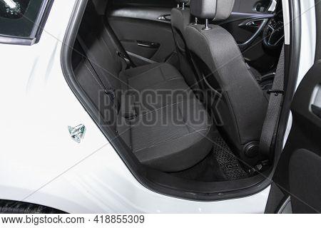 Novosibirsk, Russia - April 25 2021: Opel Astra, Interior Design, Car Passenger And Driver Seats Wit