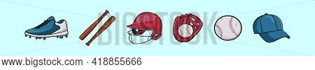 Set Of Softball Cartoon Icon Design Template With Various Models. Modern Vector Illustration Isolate