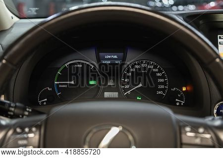 Novosibirsk, Russia - April 25 2021: Lexus Rx, Dashboard Of The Car Is Illuminated By Bright Illumin