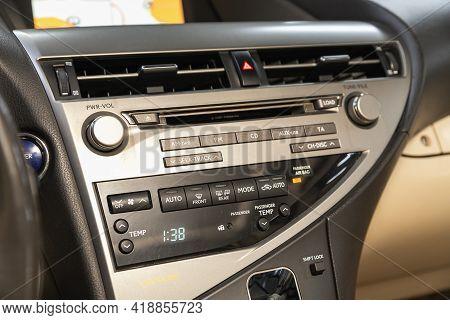Novosibirsk, Russia - April 25 2021: Lexus Rx, Auto Interior, Car Stereo Audio System Front Panel