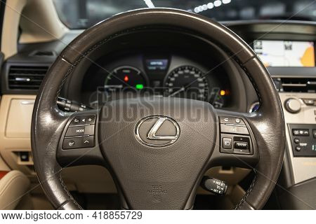 Novosibirsk, Russia - April 25 2021: Lexus Rx, Auto Interior: Steering Wheel With Logo And Buttons,