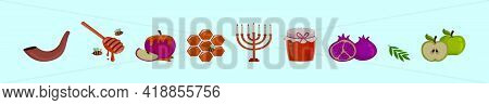 Rosh Hashanah Jewish Holiday Elements Cartoon Icon Design Template With Various Models. Modern Vecto