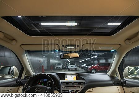 Novosibirsk, Russia - April 25 2021: Lexus Rx, Car Interior. Rear View Of The Windshield, Hatch And