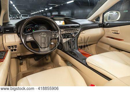 Novosibirsk, Russia - April 25 2021: Lexus Rx, Steering Wheel, Shift Lever, Multimedia  Systeme, Dri
