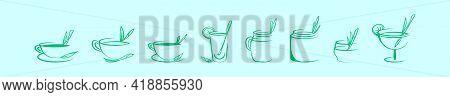 Set Of Lemongrass Tea Cartoon Icon Design Template With Various Models. Modern Vector Illustration I