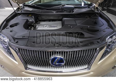 Novosibirsk, Russia - April 25 2021: Lexus Rx, Car Engine Close-up. Internal Combustion Engine, Car