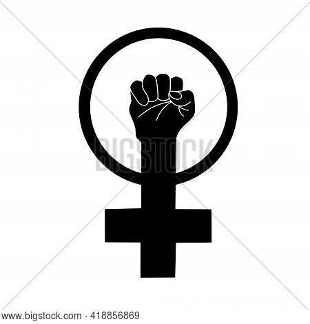 Symbol Of Feminism. Fist Raised Up. Girl Power. Logo For The Feminist Movement. Vector Illustration