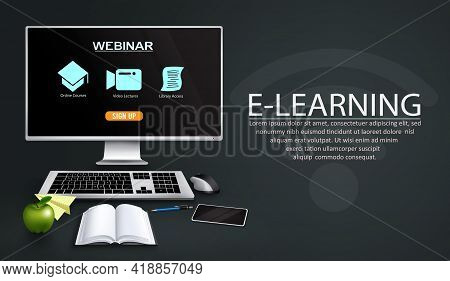 E-learning Vector Template Design. E-learning Webinar Text With Monitor Computer, Keyboard And Mouse
