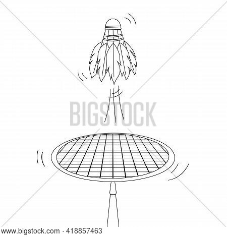 Badminton Game Concept With Lines Motion. Outline Throw Shuttlecock With Racket. Coloring Page. Spor