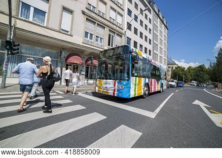 Luxembourg, Grand Duchy Of Luxembourg - July 06, 2018: View Of One Of The Streets In The Center Of L