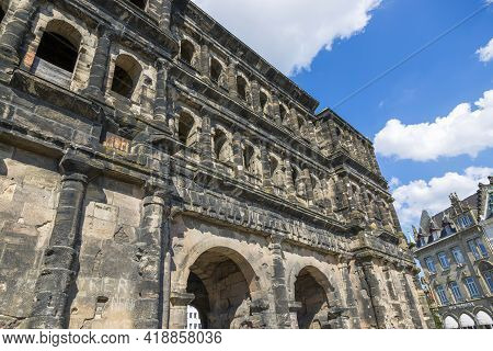 Trier, Germany - July 06, 2018: Fragment Of Antique Gate Of Porta Nigra (black Gate) In The Center O