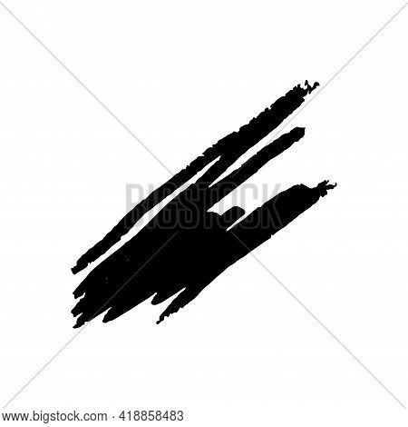 Grunge Chalk Brush Texture, Handdrawn Black Marker Stain Isolated In White Background. Vector Illust