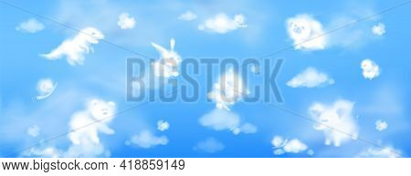 White Clouds In Shape Of Cute Animals On Background Of Blue Sky. Baby Elephant, Bear, Cat, Little Pi