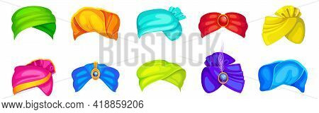 Turbans, Indian And Arab Colorful Headdress For Man And Woman. Vector Cartoon Set Of Winding Headsca