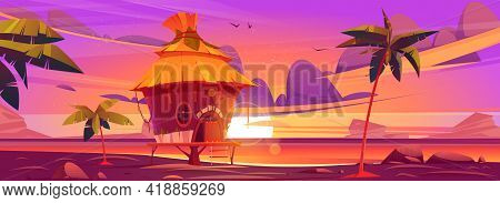 Beach Hut Or Bungalow At Beautiful Sunset On Tropical Island Resort. Summer Shack, Wooden House On P