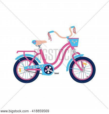 Children Bike Decorated For Little Girls, Flat Vector Illustration Isolated.