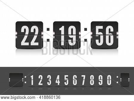 Vintage Flip Clock Time Counter Vector Template. Scoreboard Countdown Number Font. Retro Design Scor
