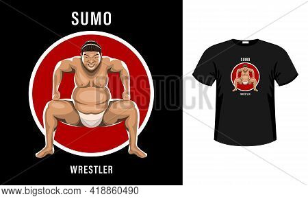 Sumo Wrestler In The Attack Stance With A Grimace Of Intimidation Isolated