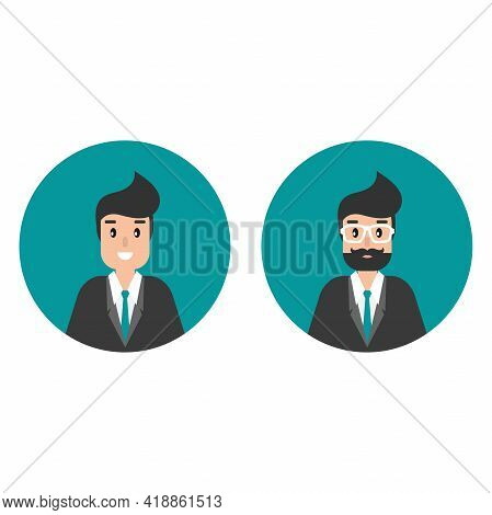 Businessman Or Attorney Avatars In Circle. Flat Vector Illustration On Blue Background. Law Consulti