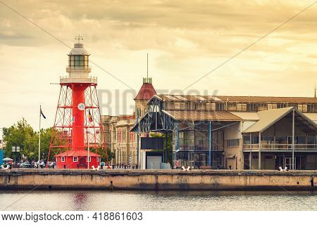 Port Adelaide, Australia - December 8, 2018: Iconic Port Adelaide Lighthouse With Fishermen's Wharf