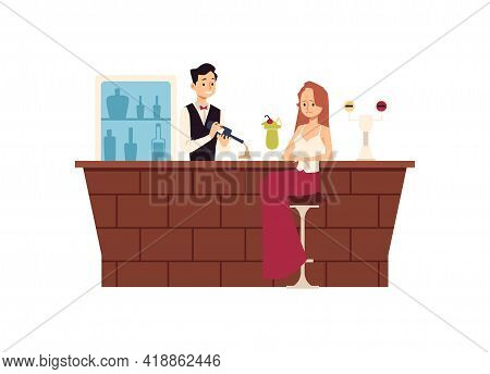 Lonely Upset Woman Sitting At Bar Counter And Drinking Flat Vector Illustration.