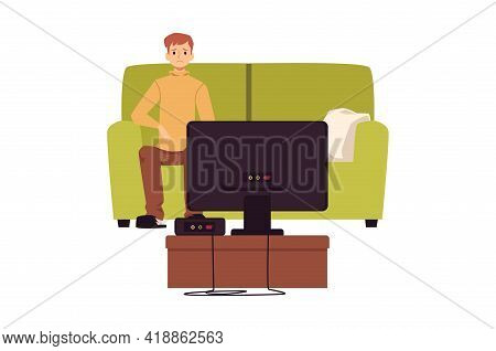 Lonely Unhappy Man Sitting In Front Of Tv, Flat Vector Illustration Isolated.