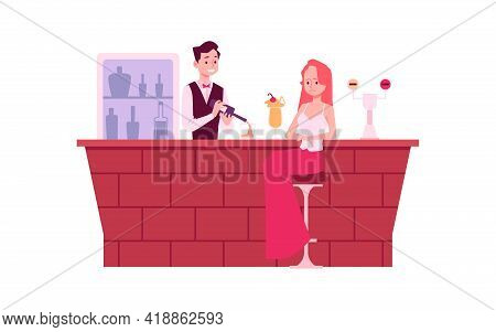 Lonely Woman In Depression At Bar Counter, Flat Vector Illustration Isolated.