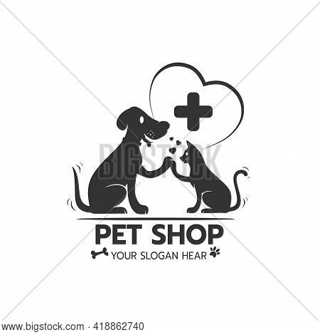 Beautiful Logo Icon Cat And Dog High Five Hand With Heart, Stylized Image Of Cat And Dog Logo Templa