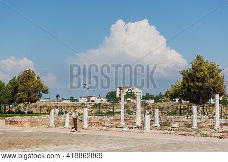 Sevastopol Crimea Chersonesos 09 June 2019. Ancient Byzantine Basilica On The Background Of The Urba