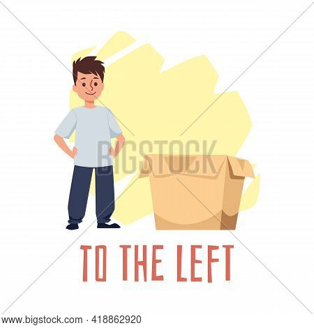 Meaning Of Preposition To The Left, Flat Vector Illustration Isolated On White.