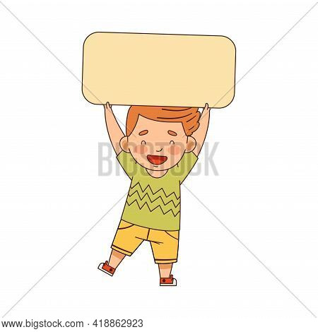 Little Redhead Boy Standing And Holding Empty Rectangular Plaque Vector Illustration