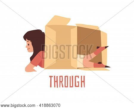 Child Crawls Through A Box With Written Word, Flat Vector Illustration Isolated.
