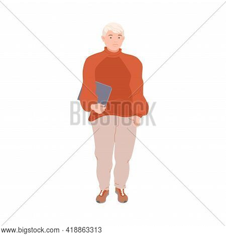 Blond Man Character With Corpulent Body In Standing Pose Full Length Vector Illustration